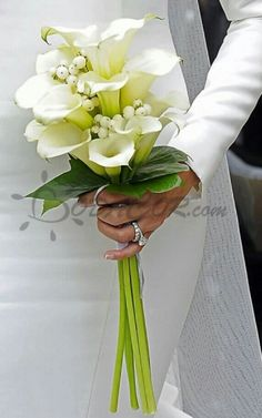 calla and greenery pageant boquet