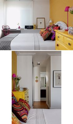 Papel de parede (Espaço Paper) e cômoda (Estúdio Glória) se cobrem de amarelo no quarto do casal. Almofadas de Ana Morelli e enxoval de Ivete Naccache cobrem a cama do casal