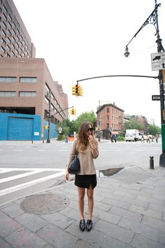 may nyc outfits - Camilla and Marc sweater, Zara slit skirt and monk strap flats, House of Harlow Chelsea sunglasses, Céline bag