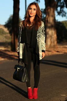 Aztec Print Waterfall Cardigan + Black Cami + Black Leggings + Red Suede Studded Ankle Boots