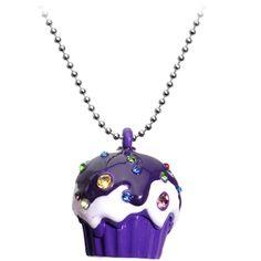 Purple Gem Cupcake Necklace