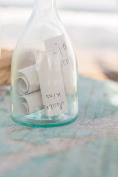 A message in a bottle guestbook.