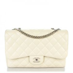 This is an authentic CHANEL Caviar Jumbo Single Flap w Bijoux Chain in White. This stunning shoulder bag is beautifully crafted of diamond quilted luxurious caviar leather.