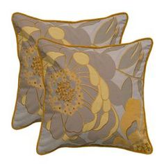 """Cotton throw pillows with embroidery and appliques.   Product: PillowConstruction Material: Cotton cover and polyester fillColor: Taupe and mustardFeatures:  Insert includedHidden zipper closureApplique and embroidery details Dimensions: 20"""" x 20""""Cleaning and Care: Dry clean only"""