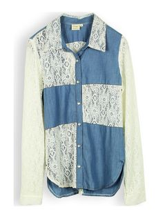 blue long sleeve turn-down neck cowboy montage shirt -