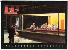 Nighthawks is a 1942 oil on canvas painting by Edward Hopper that portrays people in a downtown diner late at night. Description from imgarcade.com. I searched for this on bing.com/images