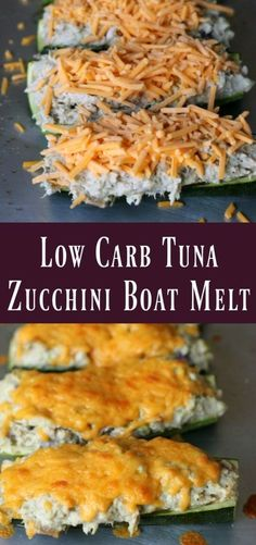 Baked zucchini boats take the place of bread in these delicious low carb tuna melts! I've often talked about my love for turkey club sandwiches and have many recipes to prove it. My favorites are this…More 25 Easy Keto Lunch Recipes Healthy Recipes, Low Carb Recipes, Salad Recipes, Low Carb Zucchini Recipes, Zuchinni Boat Recipes, Low Carb Tuna Salad Recipe, Yellow Zucchini Recipes, Canned Tuna Recipes, Vegetarian