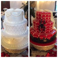 This was a spectacular cake for a wedding made half-and-half one side is the wedding cake one side is a Spiderman cake