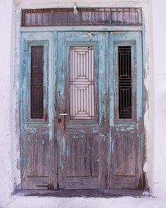 I admire these purple and blue old Greek doors, in my fave colors.