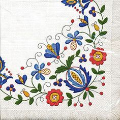Polish Folk Art Napkins (package of 20) - 'Kaszub Fringe""