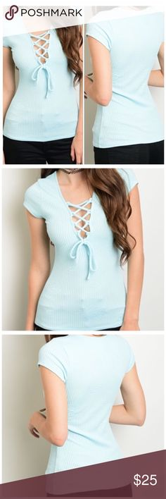 Short Sleeve Lace-up Top Lt. Blue Short Sleeve Lace-up Top   Country: USA  Color: Lt. Blue  Fabric: 96% Rayon 4% Spandex  Size: Small 4/6, Medium 8/10, Large 12/14  New From my Boutique Tops