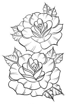 Awesome Most Popular Embroidery Patterns Ideas. Most Popular Embroidery Patterns Ideas. Rose Outline Drawing, Outline Drawings, Art Drawings, Drawing Flowers, Tattoo Flowers, Drawing Drawing, Flower Outline Tattoo, Colour Drawing, Coloring Book Pages