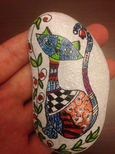 Hand Painted rock painting painted stone Cat by CreativeShopIdeas