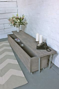 Reclaimed Grey Washed Scaffolding Board Long Low by inspiritdeco