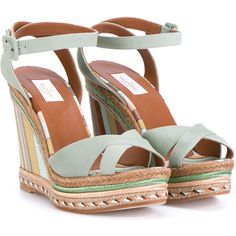 Valentino Suede Striped Wedges (£290) ❤ liked on Polyvore featuring shoes, sandals, wedges, platform wedge sandals, wedge heel sandals, ankle wrap sandals, beige wedge sandals and woven wedge sandals