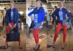 January 2016 - We've put a Canadian twist on these Sandwich tops and jackets with this Yoga Jeans classic red ankle pant.