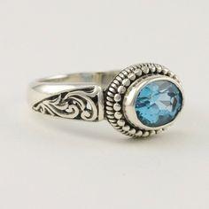 Sterling Silver Blue Topaz Bali Ring
