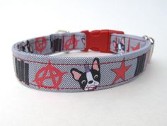 OMG! Boston Terrier Punk Rock Dog Collar. $18.50, via Etsy.