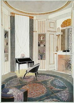 Emile Jacques Ruhlmann:Interior with furniture designed by Ruhlmann, from a collection of prints published in 4 volumes by Albert Levy, c.1924-26
