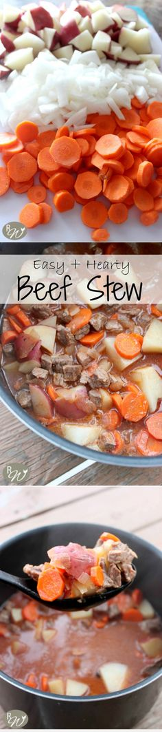 Hearty and easy beef stew recipe. Healthy Diet Recipes, Crockpot Recipes, Soup Recipes, Cooking Recipes, Beef Dishes, Tasty Dishes, Beef Stew Crockpot Easy, Good Food, Yummy Food