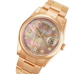 #Rolex Day-Date #18k Rose #Gold with Mother of Pearl #Diamond #Watch