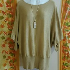 ⛄Apt 9 Size 1x Gold Sweater⛄ Band at bottom, glittery ,see all pictures,  necklace not included, excellent condition Tops Blouses
