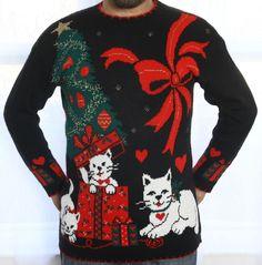 vintage christmas cats ugly metallic 80s sweater lg men woman xl ebay - Ebay Ugly Christmas Sweater