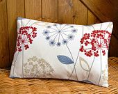blue beige red decorative pillow cover, flower cushion cover 12 x 18 inch