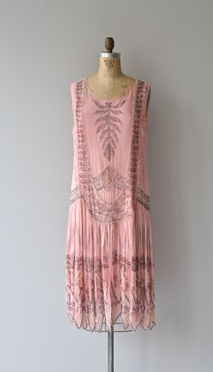 Pink dress, silver sequins and beads, 1920's