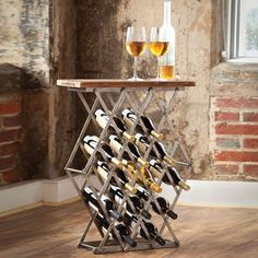 Even smaller spaces can enjoy this multifunctional table that's perfect for the wine enthusiast. Over a dozen bottles of your favorite varietals fit into the criss-crossed scissor-style metal bars of the table. Meanwhile, your glass rests safely on its handsome wood surface.