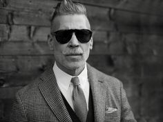 The Sartorialist Nick Wooster Tie Shirt Waistcoat Jacket Sunglasses Moustache Hair Grey B Man Fashion The Sartorialist, Nick Wooster, Persol, Sharp Dressed Man, Well Dressed, Polarized Sunglasses, Mens Sunglasses, Web Design, Man About Town