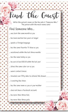 Find the Guest Bridal Shower Game, Find the Guest Game, Printable Find the Guest, Floral Bridal Shower Games, - Find the Gguest Bridal Shower Game in rose and rose gold. Fun Bridal Shower Games, Bridal Shower Planning, Bridal Games, Bridal Shower Party, Bridal Shower Rustic, Wedding Games, Couples Wedding Shower Games, Bridal Shower Checklist, Wedding Trivia