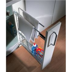 Hafele Kitchen Base Cabinet Pull-Out Organizer with Towel Rail | KitchenSource.com