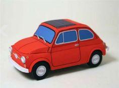 Papercrafts Fiat 500 (x Fiat 500, 3d Paper Crafts, Paper Toys, Diy Paper, Paper Model Car, Paper Models, Impression 3d, Agate Coasters, Paper Magic