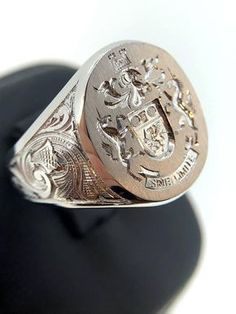 White Gold Signet Ring, 25% Off Signet Ring, Mens Custom Gold Signet Ring, Coat Of Arms, Family Cres