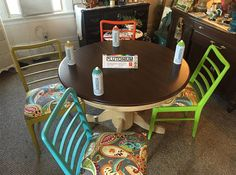 Drab to Fab!! Upcycled Dining Room Chair set by Redposie Resale Vintage furniture St Louis. St Charles. MO    Colors used from L to R: Aloha (light blue), Poupon (mustard yellow), Pumpkin (deep orange) and Zen (bright green). What's your favorite color? ---> #SprayPaint #MadeInTheUSA #DIY #Crafts #Decor #Repurpose