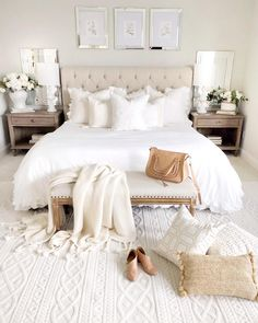 Here is a stunning white bedroom from ! What do you think of … Happy Hump Day! Here is a stunning white bedroom from ! White Bedroom, Bedroom Inspirations, Bedroom Interior, Bedroom Carpet, Sanctuary Bedroom, Home Decor, Small Bedroom, Home Bedroom, Apartment Decor