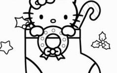 Beautiful Christmas Hello Kitty Coloring Pages