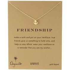 "Dogeared Reminders-""Friendship""  Gold-Dipped Sterling Silver Anchor... (1.755 UYU) ❤ liked on Polyvore featuring jewelry, necklaces, fillers, accessories, gold, charm necklace, sterling silver jewelry, anchor necklace, nautical charms and dogeared necklace"
