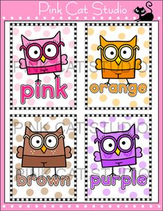 Smarty Pants Owls Theme Classroom - Colors Posters & Flash Cards: These fun owls theme color posters will look fantastic on your classroom wall or bulletin board! By Pink Cat Studio