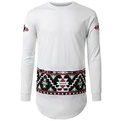 Fabric Material:    Cotton    Closure Type:   Standard  Collar: O-neck    Sleeve: Long    sleeve   Fit Type: Regular  Decoration:    Ethnic Pattern Printing    Thickness:   Standard    Color:   Black, White     Occasion:   Casual, Fashion   Season:    Spring, Fall    Size: M, L, XL, 2XL     Package included:   1* T-shirt       Please Note:                1.Please see the Size Reference to find the correct size.