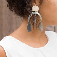 Annie Costello Brown Arc Drop Chandelier Earrings at General Store