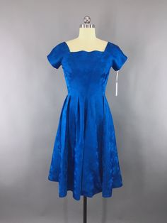 Vintage 1950s Dress Electric Blue Satin Pinecone Damask 50s Party 1960s Cocktail