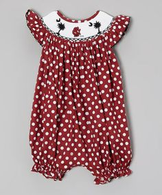 This South Carolina Gamecocks Smocked Bubble Romper - Infant by Molly Pop Inc. is perfect! #zulilyfinds