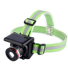 Solar Powered CELEMOON Zoomable 3 Modes Ultra Bright LED Headlamp Last 10hrs per Full Charge Rechargeable BuiltIn 1800 mAh Lithium Battery Good for Camping Running Hiking and Reading -- More info could be found at the image url.