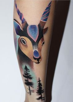 Ann Lilya deer tattoo
