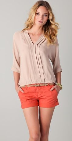 Joie  Love the bright shorts and muted top.