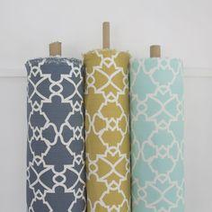 Elle Kay Fabrics Trellis available in Denim; Mustard and Spearmint Blanket Basket, Toy Storage, Fabric Baskets, Fabric, Blanket Storage, Basket, Storage Baskets, Trellis, Storage