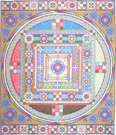 I interpreted the mandala theme in needlepoint to create this wall hanging.