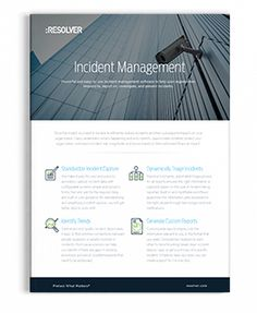 Incident Management Product Sheet   Resolver Corporate Security, Risk Management, Learning, Studying, Teaching, Onderwijs